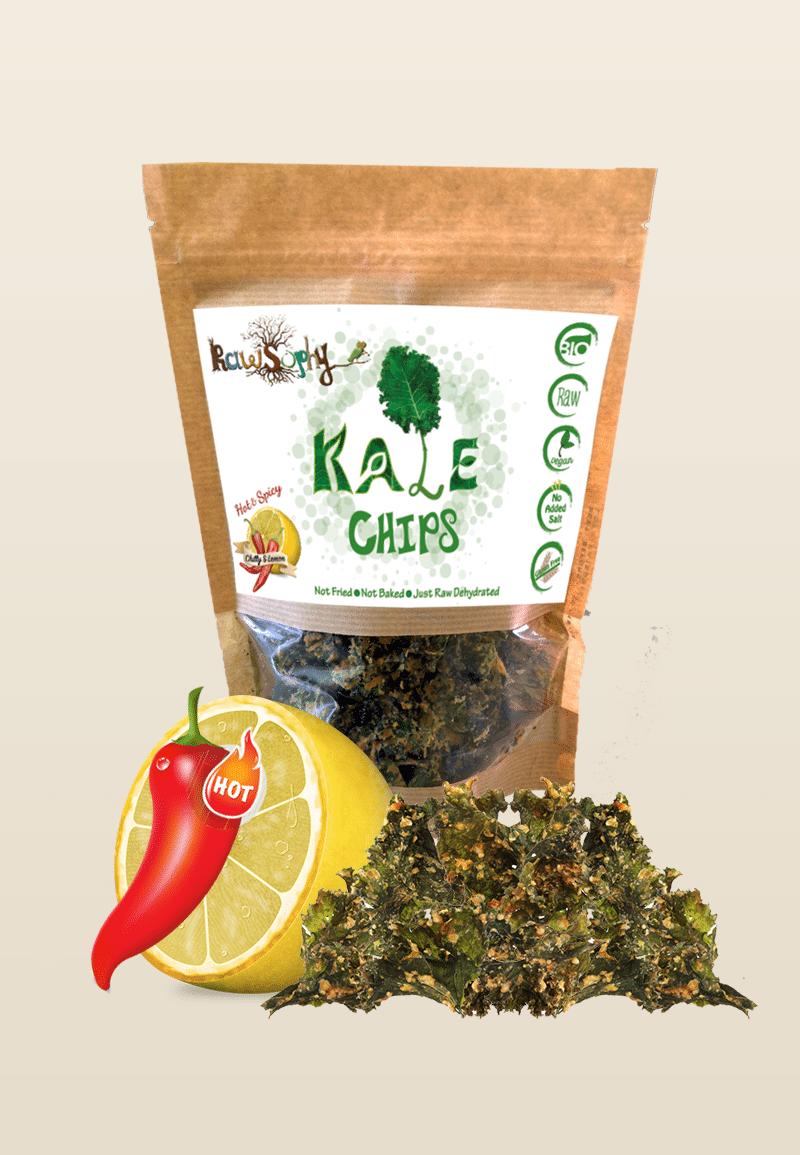 Organic Raw Kale Chips Lemon Chilly 'RawSophy' - TERRA PURA