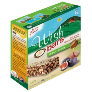 Energy Bars with Honey, Nuts & Dried Figs 'Wish Bars' 6X30gr