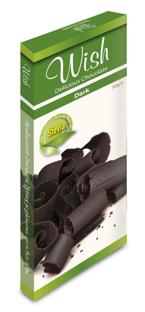 Αυθεντική Σοκολάτα Υγείας με Στέβια 'Wish Chocolate' 12τεμ Χ 50gr