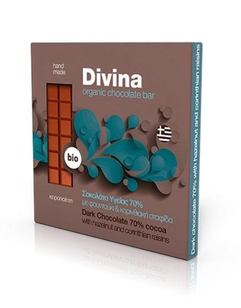 Βιολογική Σοκολάτα Υγείας 70% Μαύρη Σταφίδα & Φουντούκι 'Divina' 90gr