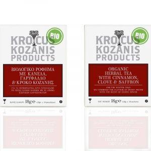 Βιολογικό Ρόφημα με Κανέλα, Γαρύφαλλο & Κρόκο Κοζάνης 'Krokus Kozanis Products' 18gr