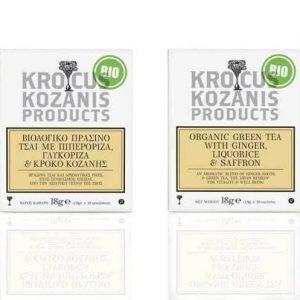Organic Green Tea w Ginger,Liquorice & Saffron 'Krocus Kozanis Products' 18gr