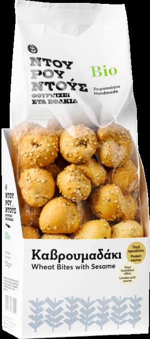 Organic Wheat Bites w Sesame 'Ntourountous' 150grΚαβρουμαδάκι' Βιολογική Μπουκιά Σουσάμι 'Ντουρουντούς' 150gr