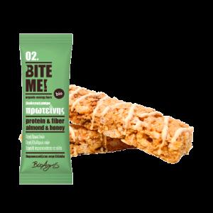 Organic Almond Honey Protein Bar BITE ME 40gr x 10 Βιολογική Μπάρα Πρωτεΐνης Αμύγδαλο Μέλι BITE ME 40gr x 10