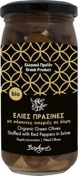 Βιολογικές Ελιές Πράσινες γεμιστές με Πιπεριά 'Βιοαγρός' 200gr