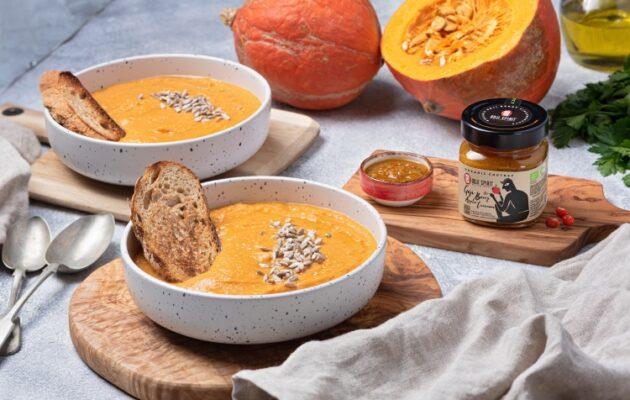 Velvety Pumpkin Soup with Goji Berry-Apple-Turmeric Chutney